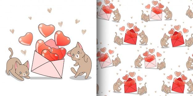 De naadloze kat van patroonkawaii met hart dat binnen van envelop houdt