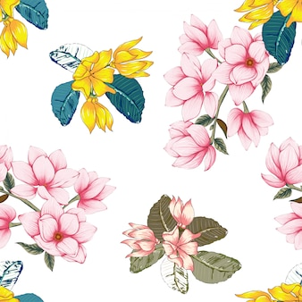 De naadloze magnolia en de kanonbloemen van de patroon roze pastelkleur.