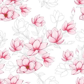 De naadloze magnolia van de patroon roze pastelkleur bloeit achtergrond.