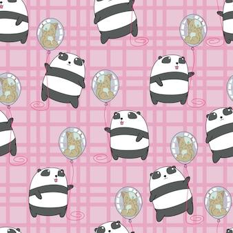 De naadloze panda houdt kat in het ballonpatroon.