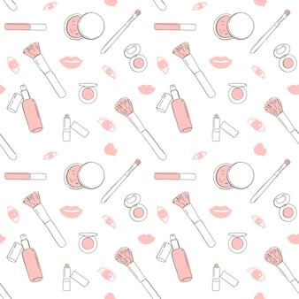 De naadloze patroon roze schoonheidsmiddelen overhandigen getrokken, vectorillustratie