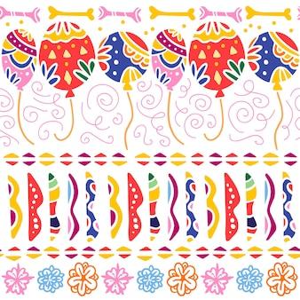 De naadloze patroon vector voor de traditionele viering van mexico - dia de los muertos - met kleurrijke lucht ballonnen, abstracte ornamenten, botten, bloemen geïsoleerd op een witte achtergrond. verpakkingsontwerp, afdrukken.