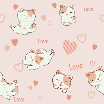 De naadloze patroonachtergrond van karakter leuke kat met hart. de patroon roze hart en tekstliefde.