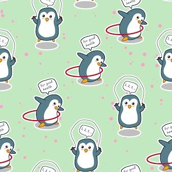 De naadloze pinguïn oefent voor goed gezondheidspatroon.