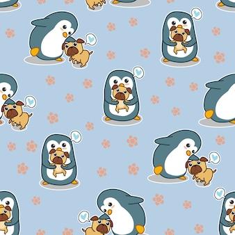 De naadloze pinguïn zegt liefde pug hondpatroon.