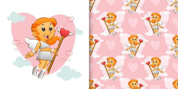 De naadloze van het schattige cupido-meisje dat de magische liefdesstok vasthoudt