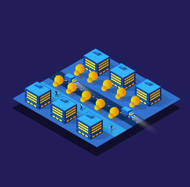 De nacht, neon, paarse slimme module blok district stadsstad illustratie
