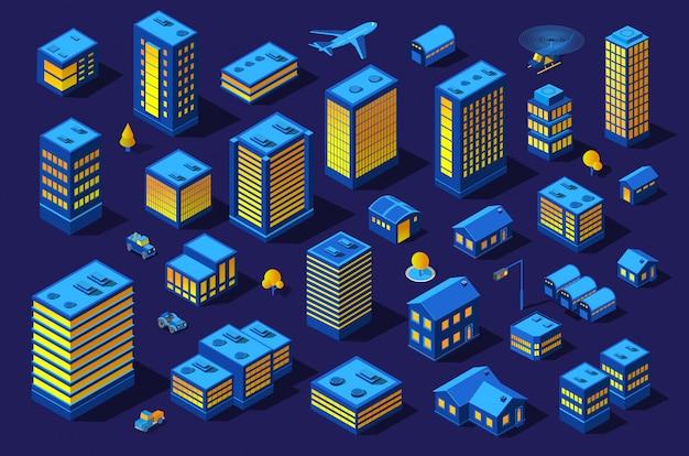 De nacht slimme stad toekomstige neon ultraviolet