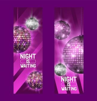 De nacht wacht op set van banners het leven begint 's nachts entertainment en disco-show