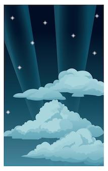De nachthemel speelt wolken lichte stralen mee