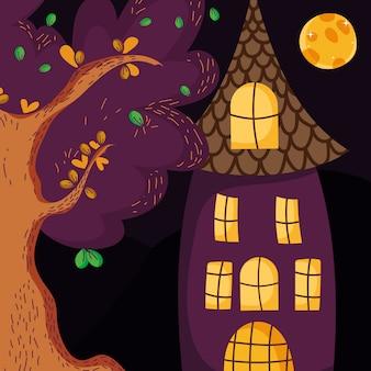 De nachtmaan halloween van de huisboom