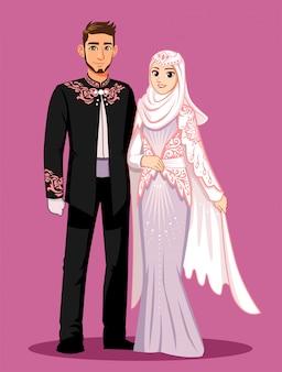 De nationale bruid draagt zwarte, witte en roze pakken.