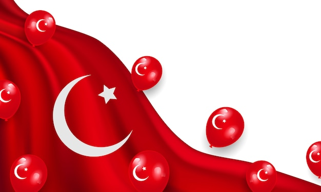 De nationale soevereiniteit en de dag van de kinderen. ontwerp met rode ballonnen