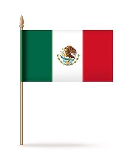 De nationale vlag van mexico. mexicaans driekleurig pictogram. mexicaanse vlag op een gouden vlaggenmast.