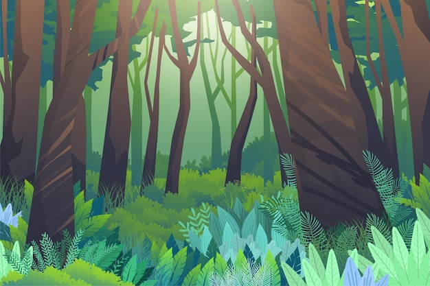 De natuurscène in het bos staat vol met grote bomen en lage heggen, overwoekerd en mysterieus. het landschap is mooi en weelderig.