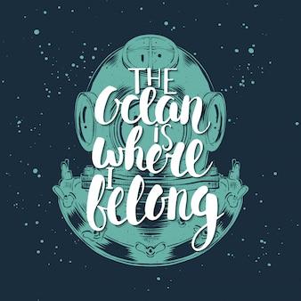 De oceaan is waar ik thuishoor met duikhelm
