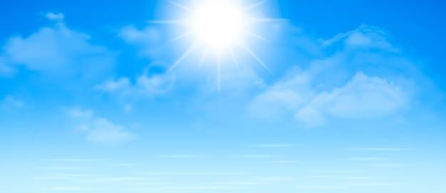 De oceaan of de zee. hemel met wolken en weerspiegeling van licht in het wateroppervlak, romantische fantasie op de achtergrond van een natuurlijke scène. cartoon illustratie