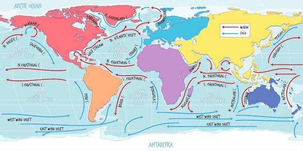 De oceaanstroom wereldkaart met namen