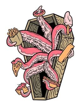 De octopus brengt eten voor je