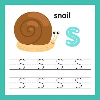 De oefening van het alfabet s met de illustratie van de beeldverhaalwoordenschat, vector
