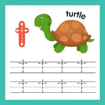 De oefening van het alfabet t met de illustratie van de beeldverhaalwoordenschat, vector