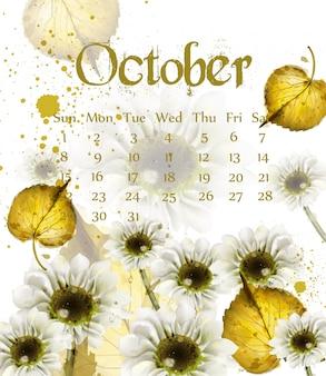 De oktoberkalender van de herfst met gouden bladeren