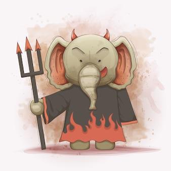 De olifant draagt een kwaad gewaadkostuum