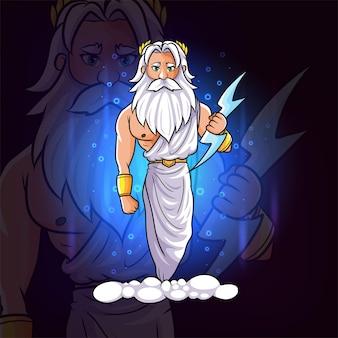De olympus griekse god van zeus met het blauwe bliksem esport-logo-ontwerp van illustratie