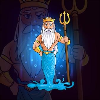 De olympus griekse goden van poseidon esport logo-ontwerp van illustratie
