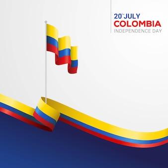 De onafhankelijkheidsdag van colombia met het symbool van de vlagstaat