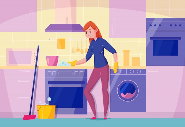 De onderhouds vlakke samenstelling van het keukenonderhoud met bovenkant van het vrouwen de schoonmakende fornuis met de ovenillustratie van de spons modieuze afwasmachine