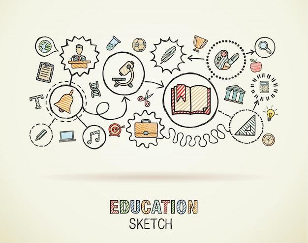 De onderwijshand trekt geïntegreerde pictogrammen die op papier worden geplaatst. kleurrijke schets infographic cirkel illustratie. verbonden doodle pictogrammen, sociale, e-learning, leren, media, kennis interactieve concepten