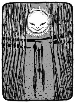 De onheilspellende zon kijkt naar de familie. hand getekend vectorillustratie in zwart-wit kleuren. abstracte grafische tekening geïsoleerd op wit. element voor ontwerp, inrichting.