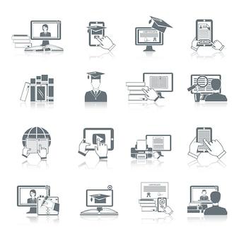De online die zwarte van het onderwijspictogram met de digitale tutorials van het afstandonderzoek en het testen symbolen geïsoleerde vectorillustratie wordt geplaatst