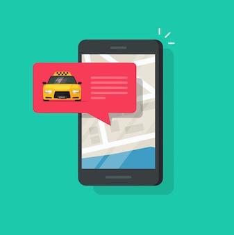 De online taxidienst op mobiele telefoon of cellphone vectorillustratie geïsoleerde vlakke karton