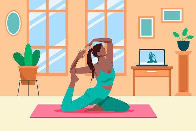 De online vrouw die van sportklassen yoga doet