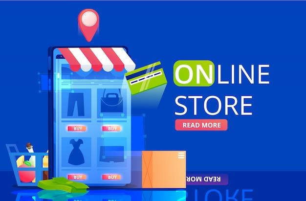 De online winkelbanner. een shopping in app in mobiele telefoon. een snelle levering en koop iconen. vlakke afbeelding