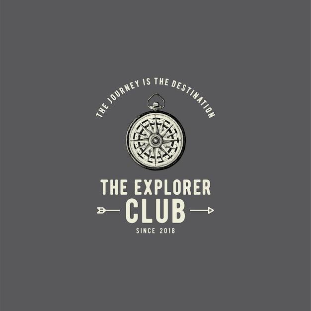 De ontdekkingsreiziger club logo ontwerp vector