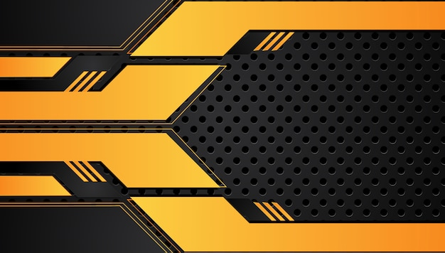 De oranjegele en zwarte abstracte metaalachtergrond van het de innovatieconcept van kadertechnologie