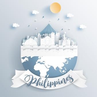De oriëntatiepunten van filippijnen ter wereld in document snijden stijl vectorillustratie.
