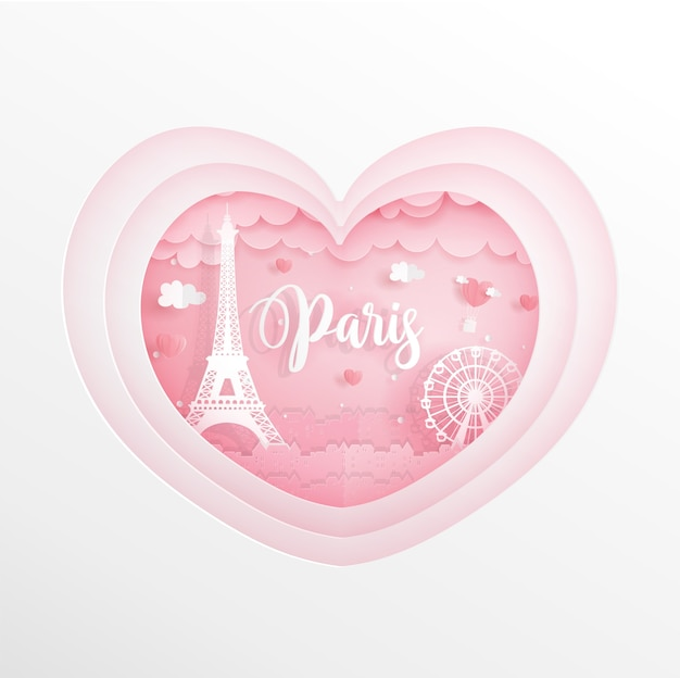 De oriëntatiepunten van parijs, frankrijk in roze hart