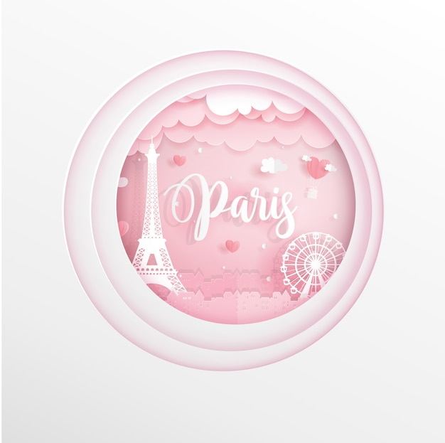 De oriëntatiepunten van parijs, frankrijk in roze