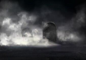 De oude begraafplaats bij nacht realiseerde de vector met hellende grafzerken dikke mist in duisternis illust