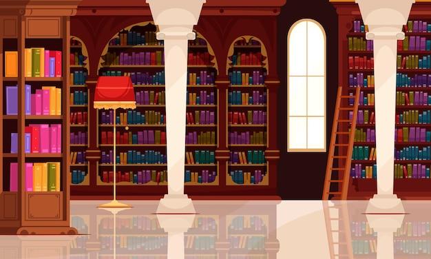 De oude binnenlandse samenstelling van het bibliotheekboek met binnenlandschap van zaal met de lamp en de ladder van boekenkasten