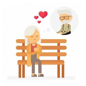 De oude dame denkt aan de man van wie ze houdt, gelukkige valentijnsdag.