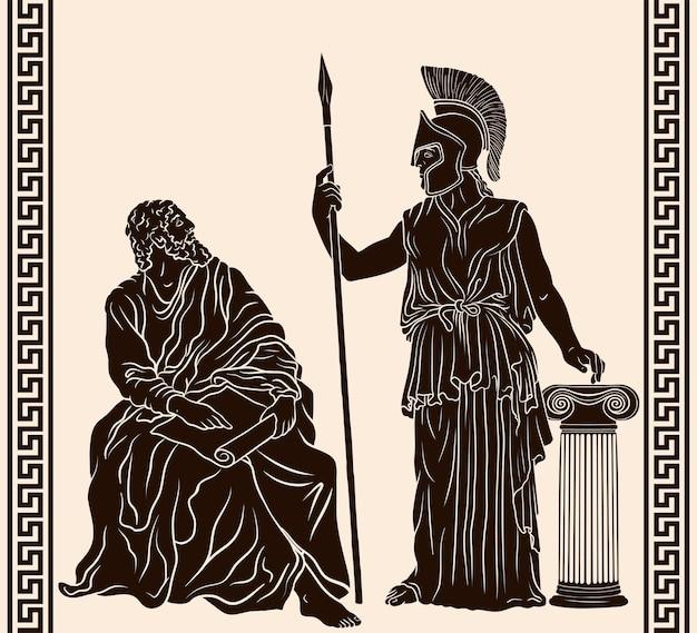 De oude griekse filosoof zit met papyrus in zijn handen in de buurt van pallas athena