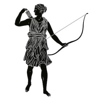 De oude griekse godin van de jacht artemis met een pijl en boog in haar handen.