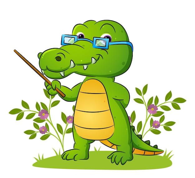 De oude leraar van de krokodil geeft les in de tuin van de illustratie