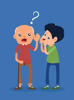 De oude man had symptomen van doofheid