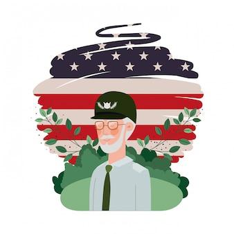 De oude man van de veteraanoorlog met landschap en de vlag van verenigde staten